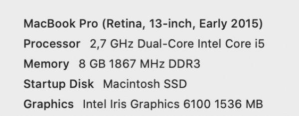 Πωλείται macbook pro 13 inch 2015